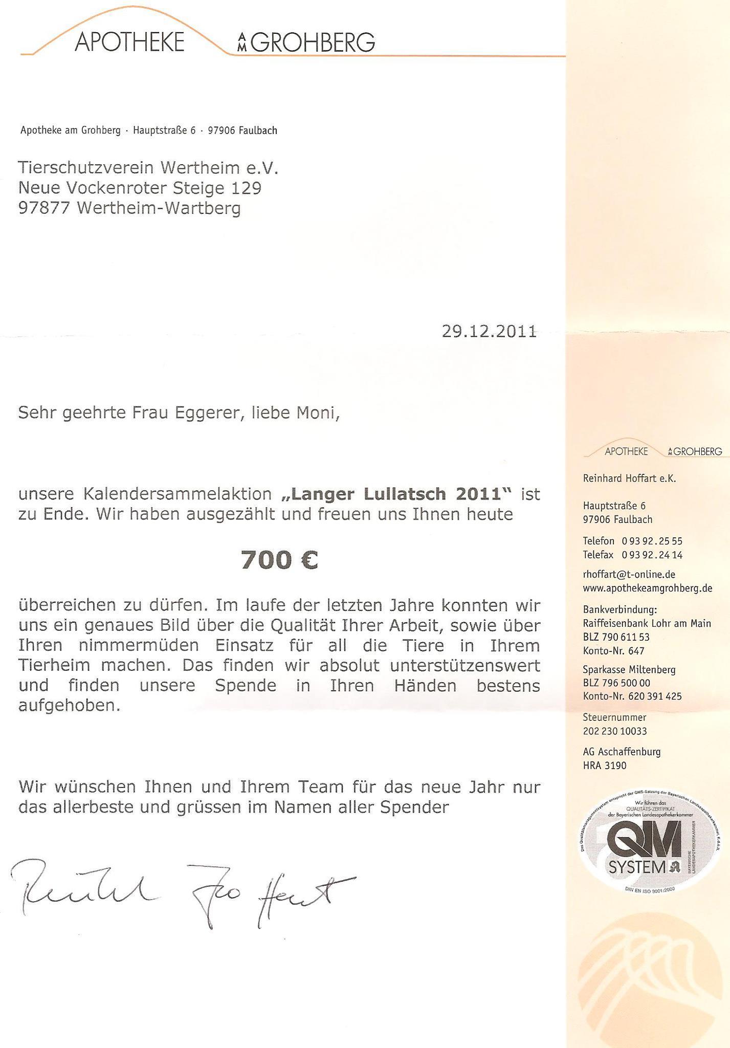 Brief der Apotheke am Grohberg